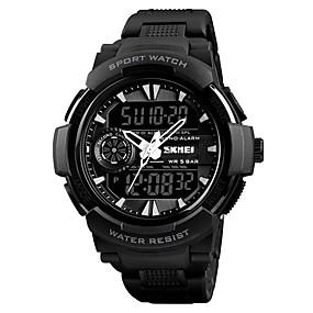 Недорогие Фирменные часы-SKMEI Муж. Для пары Наручные часы электронные часы Цифровой Стеганная ПУ кожа Черный 50 m Защита от влаги Календарь Хронометр Аналого-цифровые На каждый день Мода - Черный Красный Синий