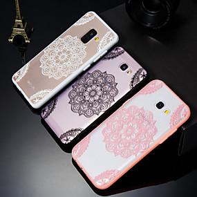 olcso Galaxy A7(2017) tokok-Case Kompatibilitás Samsung Galaxy A5(2018) / A6 (2018) / A6+ (2018) Jeges / Áttetsző / Dombornyomott Fekete tok csipke nyomtatás Kemény Akril