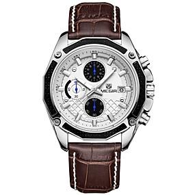 Недорогие Фирменные часы-MEGIR Муж. Спортивные часы Кварцевый На каждый день Защита от влаги Натуральная кожа Черный / Коричневый Аналоговый - Черный Коричневый / Японский / Календарь / Секундомер / Фосфоресцирующий