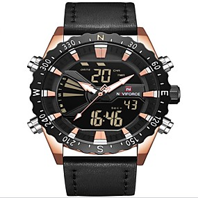 cheap Brand Watches-NAVIFORCE Men's Sport Watch Dress Watch Japanese Japanese Quartz 30 m Water Resistant / Water Proof Alarm Calendar / date / day Genuine Leather Band Analog Digital Luxury Fashion Black / Brown -
