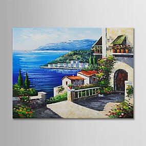 رخيصةأون لوحات-هانغ رسمت النفط الطلاء رسمت باليد - حياة هادئة الأزهار / النباتية الحديث بدون إطار داخلي / توالت قماش