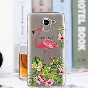 olcso Galaxy J5(2017) tokok-Case Kompatibilitás Samsung Galaxy J7 (2017) / J6 / J5 (2017) Átlátszó / Minta Fekete tok Flamingó Puha TPU