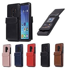 voordelige Galaxy S7 Hoesjes / covers-hoesje Voor Samsung Galaxy S9 / S9 Plus / S8 Plus Portemonnee / Kaarthouder / met standaard Achterkant Effen Hard PU-nahka