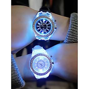 cheap Quartz Watches-Men's Women's Sport Watch Led Watch Quartz Silicone Black / White / Orange Chronograph Creative Luminous Analog Colorful Christmas - Black Navy White One Year Battery Life / Noctilucent / SSUO 377