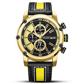 Недорогие Фирменные часы-MEGIR Муж. Спортивные часы Кварцевый На каждый день Защита от влаги Натуральная кожа Черный Аналоговый - Золотистый Серебряный / Японский / Календарь / Фосфоресцирующий / Японский