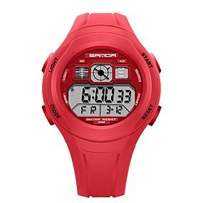Недорогие Фирменные часы-SANDA Муж. Жен. Спортивные часы электронные часы Японский Цифровой силиконовый Черный / Красный / Зеленый 30 m Защита от влаги Календарь Хронометр Цифровой Мультяшная тематика Мода -