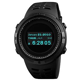 Недорогие Фирменные часы-SKMEI Муж. Для пары Спортивные часы электронные часы Цифровой Стеганная ПУ кожа Черный 50 m Защита от влаги Bluetooth Календарь Цифровой Роскошь Мода - Красный Синий Золотистый / Компас / Хронометр