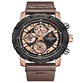 cheap Brand Watches-NAVIFORCE Men's Sport Watch Dress Watch Japanese Japanese Quartz 30 m Water Resistant / Water Proof Calendar / date / day New Design Genuine Leather Band Analog Luxury Fashion Black / Blue / Brown -
