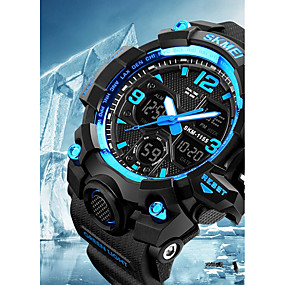 Недорогие Фирменные часы-SKMEI Муж. Для пары Наручные часы электронные часы Цифровой Стеганная ПУ кожа Черный 50 m Защита от влаги Календарь Секундомер Аналого-цифровые На каждый день Мода - Желтый Красный Синий / Хронометр