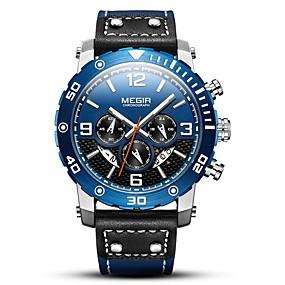 Недорогие Фирменные часы-MEGIR Муж. Спортивные часы Японский Кварцевый Натуральная кожа Черный 30 m Защита от влаги Календарь Секундомер Аналоговый На каждый день Мода - Черный Синий / Фосфоресцирующий