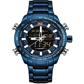 cheap Brand Watches-NAVIFORCE Men's Sport Watch Military Watch Japanese Japanese Quartz 30 m Water Resistant / Water Proof Alarm Calendar / date / day Stainless Steel Band Analog Digital Luxury Fashion Black / Blue