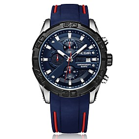 Недорогие Фирменные часы-MEGIR Муж. Спортивные часы Японский Кварцевый силиконовый Черный / Синий 30 m Защита от влаги Календарь Секундомер Аналоговый Мода - Черный Синий / Фосфоресцирующий