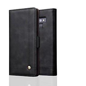Недорогие Чехлы и кейсы для Galaxy Note 8-Кейс для Назначение SSamsung Galaxy Note 9 / Note 8 Кошелек Чехол Однотонный Твердый Настоящая кожа