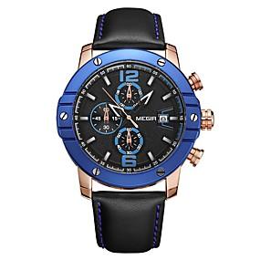 Недорогие Фирменные часы-MEGIR Муж. Спортивные часы Японский Кварцевый Натуральная кожа Черный 30 m Защита от влаги Календарь Секундомер Аналоговый Роскошь Мода - Черный Синий / Фосфоресцирующий