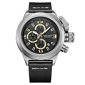 Недорогие Фирменные часы-MEGIR Муж. Спортивные часы Кварцевый На каждый день Защита от влаги Натуральная кожа Черный / Коричневый Аналоговый - Черный Коричневый / Японский / Календарь / Японский