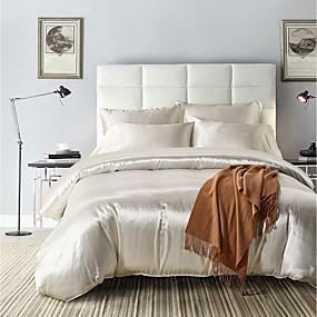ieftine Casă & Grădină-seturi de copertină de duvet / rayon imprimeu reactiv cu mătase moale / solid, set de paturi din 3 piese