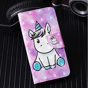 baratos Comprar por Modelo de Celular-Capinha Para Samsung Galaxy S9 / S9 Plus / S8 Plus Carteira / Porta-Cartão / Com Suporte Capa Proteção Completa Unicórnio Rígida PU Leather