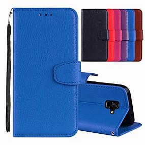 voordelige Galaxy A7(2016) Hoesjes / covers-hoesje Voor Samsung Galaxy A5(2018) / A6 (2018) / A6+ (2018) Kaarthouder / met standaard / Flip Volledig hoesje Effen Hard PU-nahka