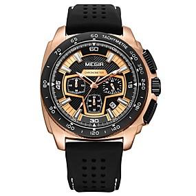 Недорогие Фирменные часы-MEGIR Муж. Спортивные часы Армейские часы Японский Кварцевый силиконовый Черный 30 m Защита от влаги Календарь Секундомер Аналоговый Мода - Золотистый Черный Серебряный / Фосфоресцирующий