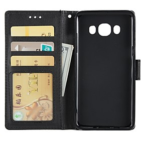 cheap Galaxy J3(2016) Cases / Covers-Case For Samsung Galaxy J7 (2016) / J5 (2016) / J3 (2016) Wallet / Card Holder / with Stand Full Body Cases Solid Colored Hard PU Leather