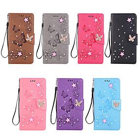 Недорогие Чехлы и кейсы для Galaxy Note 8-Кейс для Назначение SSamsung Galaxy Note 9 / Note 8 Бумажник для карт / Стразы / Флип Чехол Бабочка / Стразы / Цветы Твердый Кожа PU