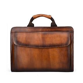 povoljno Muške torbe-Muškarci Patent-zatvarač Kravlja koža Aktovka Braon