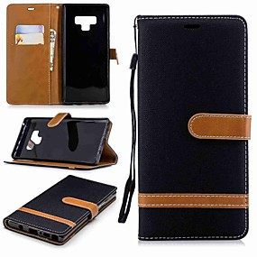 Недорогие Чехлы и кейсы для Galaxy Note 8-Кейс для Назначение SSamsung Galaxy Note 9 / Note 8 Кошелек / Бумажник для карт / со стендом Чехол Однотонный Твердый текстильный
