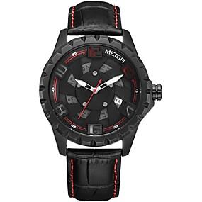 Недорогие Фирменные часы-MEGIR Муж. Спортивные часы Нарядные часы Японский Кварцевый Натуральная кожа Черный 30 m Защита от влаги Календарь Секундомер Аналоговый Классика На каждый день Мода - Черный / Красный Черный / Желтый