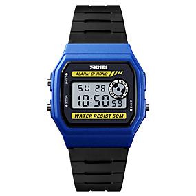 Недорогие Фирменные часы-SKMEI Муж. Спортивные часы Армейские часы электронные часы Цифровой На каждый день Будильник Стеганная ПУ кожа Черный Цифровой - Черный / Желтый Черный / Серебристый Синий Один год Срок службы батареи