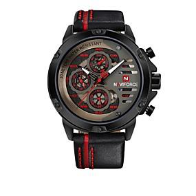 Недорогие Фирменные часы-NAVIFORCE Муж. Спортивные часы Наручные часы Японский кварц На каждый день Защита от влаги Натуральная кожа Черный Аналоговый - Черный / Желтый Черный / Красный / Календарь