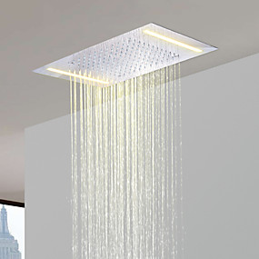 povoljno Slavine-luksuzna kiša systerm 16-inčne slavine za kupaonicu miješalica za kišu nehrđajući čelik 304 110v ~ 220v naizmjenično s lampicama koje štede energiju