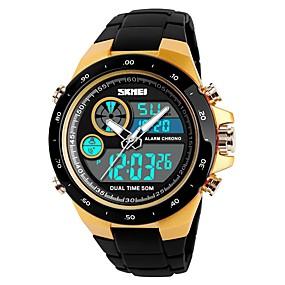 Недорогие Фирменные часы-SKMEI Муж. Для пары Спортивные часы электронные часы Цифровой На каждый день Защита от влаги Стеганная ПУ кожа Черный / Зеленый Аналого-цифровые - Золотистый Черный Красный / Календарь / Секундомер