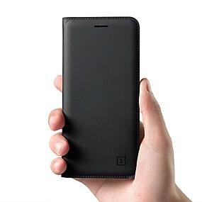 halpa Oneplus-Etui Käyttötarkoitus OnePlus OnePlus 6 / One Plus 5 / OnePlus 5T Korttikotelo / Flip Suojakuori Yhtenäinen Kova aitoa nahkaa