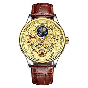 Недорогие Фирменные часы-Tevise Муж. Механические часы Японский С автоподзаводом Натуральная кожа Черный / Коричневый 30 m Защита от влаги Фосфоресцирующий Фаза луны Аналоговый На каждый день Мода - / Имитация Алмазный