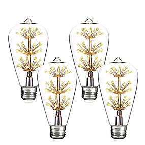 hesapli LED Filaman Ampuller-4adet 3 W LED Filaman Ampuller 200 lm E26 / E27 ST64 47 LED Boncuklar SMD Dekorotif Yıldızlı Noel Düğün Dekorasyonu Sıcak Beyaz 85-265 V