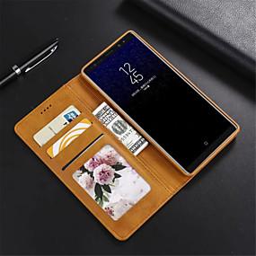 Недорогие Чехлы и кейсы для Galaxy Note 8-Кейс для Назначение SSamsung Galaxy Note 9 / Note 8 Игровой случай Чехол Однотонный Твердый Кожа PU для Note 9 / Note 8