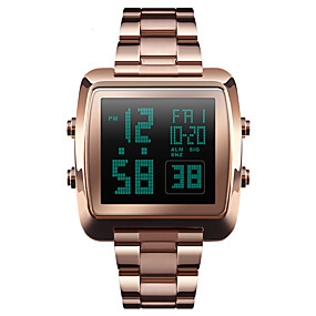 Недорогие Фирменные часы-SKMEI Муж. Спортивные часы Наручные часы электронные часы Цифровой Нержавеющая сталь Черный / Серебристый металл / Золотистый 30 m Защита от влаги Будильник Календарь Цифровой На каждый день Мода -