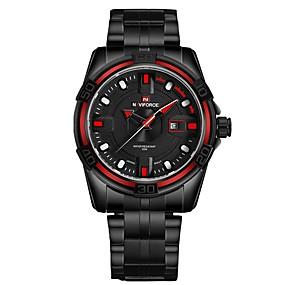 Недорогие Фирменные часы-NAVIFORCE Муж. Нарядные часы Наручные часы Японский Японский кварц Нержавеющая сталь Черный 30 m Защита от влаги Календарь Cool Аналоговый Роскошь Классика Мода -
