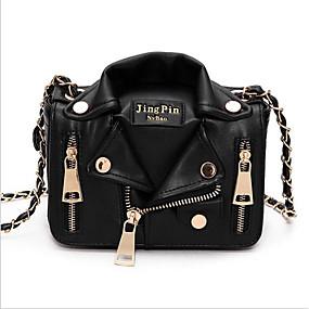 cheap Women's Bags-Women's Zipper PU Shoulder Messenger Bag Black