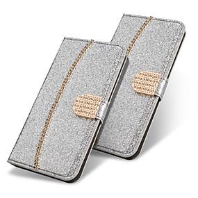 voordelige Galaxy S7 Edge Hoesjes / covers-hoesje Voor Samsung Galaxy S9 / S9 Plus / S8 Plus Portemonnee / Kaarthouder / Strass Volledig hoesje Effen / Glitterglans / Strass Hard PU-nahka