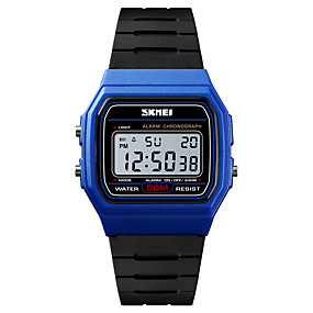 Недорогие Фирменные часы-SKMEI Муж. Спортивные часы Армейские часы электронные часы Цифровой Стеганная ПУ кожа Черный 50 m Будильник Календарь Секундомер Цифровой На каждый день Мода - Синий Золотистый Черный / Белый