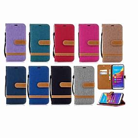 Недорогие Чехлы и кейсы для Huawei Honor-Кейс для Назначение Huawei Honor 7X / Honor 7A / Honor 7C(Enjoy 8) Кошелек / Бумажник для карт / со стендом Чехол Однотонный Твердый текстильный