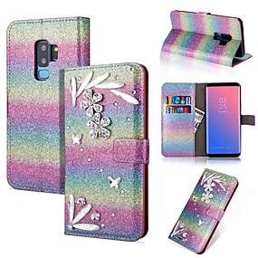 Недорогие Чехлы и кейсы для Galaxy Note 8-Кейс для Назначение SSamsung Galaxy Note 9 / Note 8 Кошелек / Бумажник для карт / Стразы Чехол Сияние и блеск / Стразы / Цветы Твердый Кожа PU