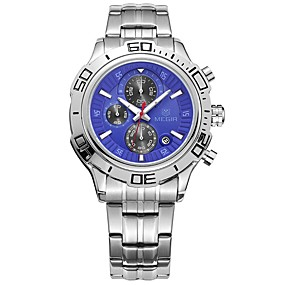 Недорогие Фирменные часы-MEGIR Муж. Спортивные часы Нарядные часы Японский Кварцевый Нержавеющая сталь Серебристый металл 30 m Защита от влаги Календарь Секундомер Аналоговый Роскошь Классика Мода -  / Фосфоресцирующий