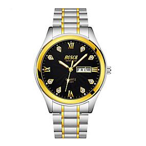 Недорогие Фирменные часы-BOSCK Муж. Механические часы Нержавеющая сталь Золотистый 30 m Защита от влаги Календарь Аналоговый Классика На каждый день World Map Pattern - Золотой Белый Черный Один год Срок службы батареи