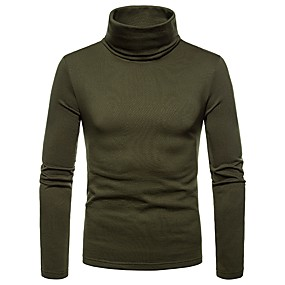cheap Top Sellers-Men's T-shirt Graphic Solid Colored Tops Turtleneck Wine Black Army Green / Fall / Winter / Long Sleeve