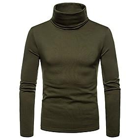 ieftine Cele Mai Vândute-Bărbați Zilnic Tricou Mată Manșon Lung Topuri Guler Pe Gât Negru Roșu Vin Verde Militar / Toamnă / Iarnă