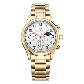 Недорогие Фирменные часы-MEGIR Муж. Спортивные часы Нарядные часы Кварцевый Роскошь Защита от влаги Нержавеющая сталь Серебристый металл / Золотистый Аналоговый - Золотистый Серебряный / Японский / Календарь / Секундомер