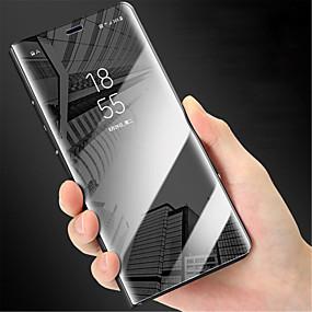 Недорогие Чехлы и кейсы для Galaxy Note 8-Кейс для Назначение SSamsung Galaxy Note 9 / Note 8 / Note 5 Зеркальная поверхность / Флип Чехол Однотонный Твердый ПК