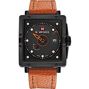 Недорогие Фирменные часы-NAVIFORCE Муж. Спортивные часы Наручные часы Японский кварц На каждый день Защита от влаги Натуральная кожа Черный / Коричневый Аналоговый - Черный / Красный Черный / коричневый / Календарь